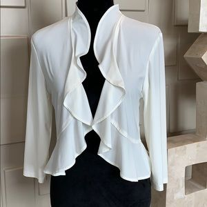 R&M Richards cream open front crop jacket Size M